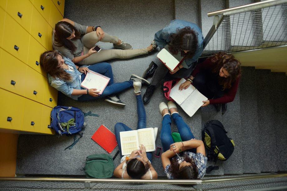students study locker room group